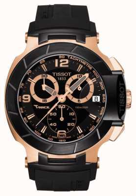 Tissot Bracelet noir en caoutchouc plaqué or noir t-race T0484172705706