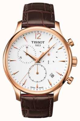 Tissot Chronographe homme tradition en cuir marron plaqué or rose T0636173603700