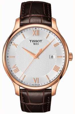 Tissot Tradition homme en or rose plaqué argent cadran en cuir marron T0636103603800