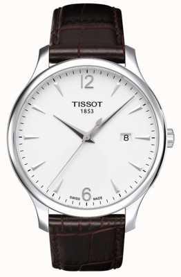 Tissot Bracelet en cuir marron tradition homme cadran argenté T0636101603700