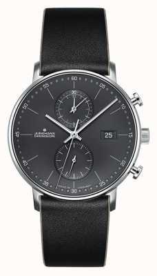 Junghans Bracelet en cuir noir pour chronographe Form C pour homme 041/4876.00