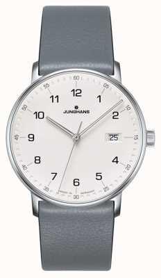 Junghans Montre à bracelet en cuir de veau gris quartz 041/4885.00