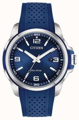 Citizen Boîtier en acier inoxydable avec affichage de la date en résine bleue AW1158-05L