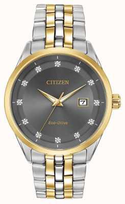 Citizen Bracelet deux tons Corso pour homme avec cadran gris et diamants BM7258-54H