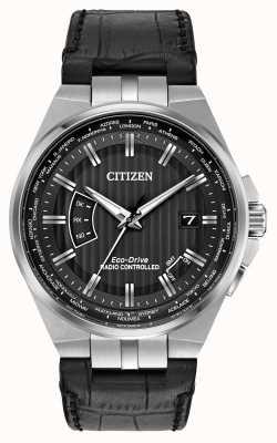 Citizen Monde des hommes perpétuel au cadran noir bracelet en cuir noir CB0160-00E