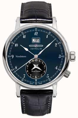 Zeppelin Nordstern double date grande date cadran bleu bracelet en cuir noir 7540-3