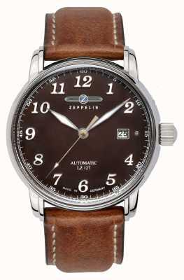Zeppelin Graf automatique lz127 date affichage brun cadran en cuir marron 8656-3