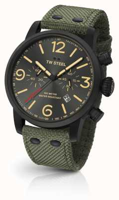 TW Steel Maverick calibre chronographe toile verte sangle cadran noir MS124