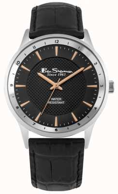 Ben Sherman Bracelet en cuir noir noir et or rose sunray cadran BS148
