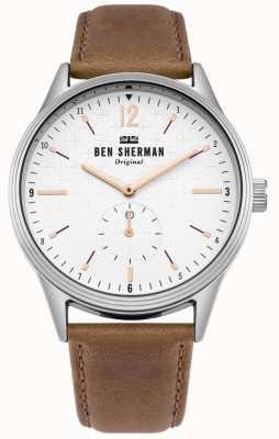 Ben Sherman Cadran blanc mat et bracelet en cuir beige WB015T
