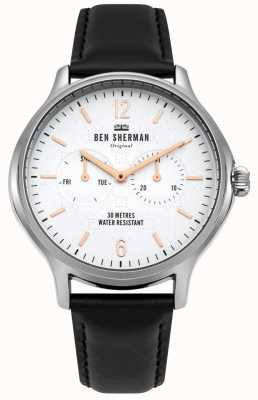 Ben Sherman Cadran blanc mat et bracelet en cuir noir WB017B