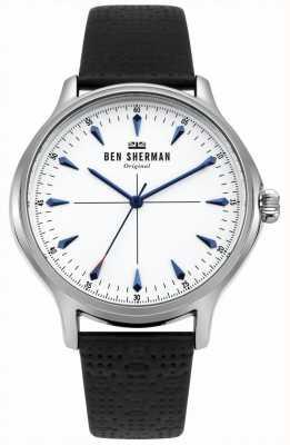 Ben Sherman Cadran blanc mat et bracelet en cuir noir WB018S