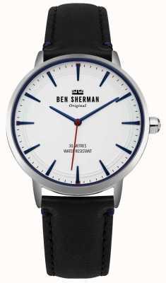 Ben Sherman Cadran blanc mat et bracelet en cuir noir WB020B