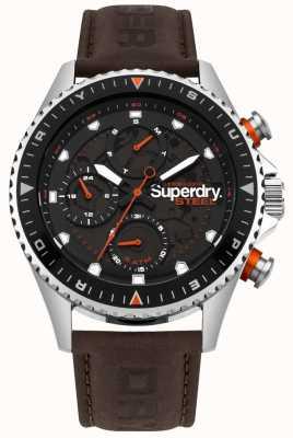 Superdry Cadran en acier officier jour et date cadrans bracelet en cuir marron SYG220BR