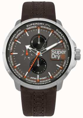 Superdry Kyoto ranger bracelet brun cadran gris SYG218T