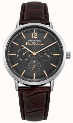 Ben Sherman Boîtier en acier inoxydable jour et date afficher bracelet en cuir marron BS011EBR