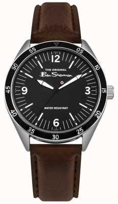 Ben Sherman Cadran noir argent boîtier en acier inoxydable bracelet en cuir marron BS007BBR