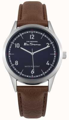 Ben Sherman Cadran bleu acier inoxydable boîtier en argent bracelet en cuir marron BS012UBR