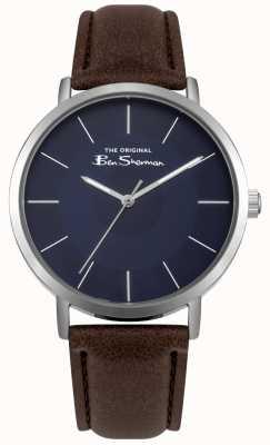 Ben Sherman Cadran bleu boîtier en acier inoxydable bracelet en cuir marron BS014UBR