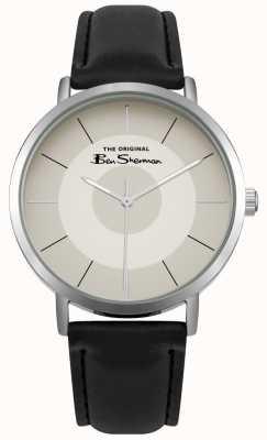 Ben Sherman Cadran crème multishade boîtier en acier inoxydable cuir noir BS014WB