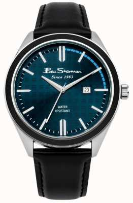 Ben Sherman Cadran bleu foncé date affichage bracelet en cuir noir BS004UB