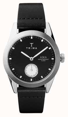 Triwa Slate aska cadran noir boîtier en acier inoxydable cuir noir AKST107-SS010212