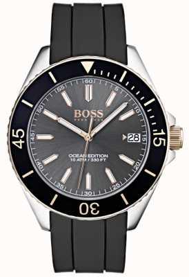 Hugo Boss Edition Ocean date gris affichage date bracelet en caoutchouc noir 1513558