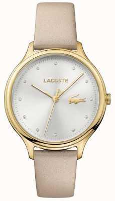 Lacoste Constance pour femme sertie de cristaux, cadran argenté, boîtier en or 2001007