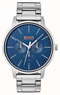 Hugo Boss Orange Bracelet en acier inoxydable avec cadran bleu et affichage de la date et de la date 1550067