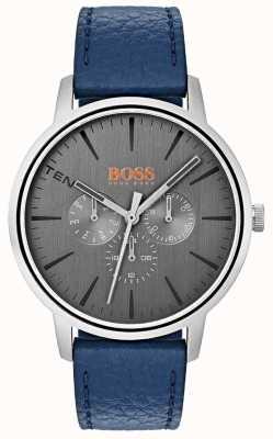 Hugo Boss Orange Cadran gris jour et date sous cadran bracelet en cuir bleu 1550066