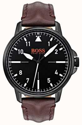 Hugo Boss Orange Cadran noir Bracelet en cuir marron foncé Etui noir avec revêtement ip 1550062