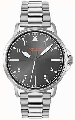 Hugo Boss Orange Bracelet noir en acier inoxydable à cadran argenté 1550064