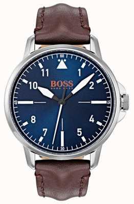 Hugo Boss Orange Cadran bleu, marqueurs blancs, bracelet en cuir véritable brun foncé 1550060