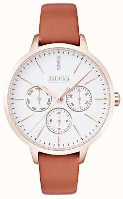 Boss Cadran blanc avec affichage du jour et de la date, boîtier en or rose, cuir beige 1502420
