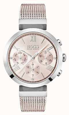 Boss Chronographe cadran rose jour et date sous-cadrans 1502426