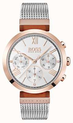 Hugo Boss Cadran argenté jour et date afficher chiffres romains maille bracelet 1502427