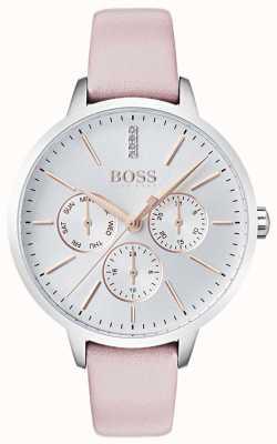 BOSS Cadran argenté jour & date sous-cadran cristal serti cuir rose 1502419