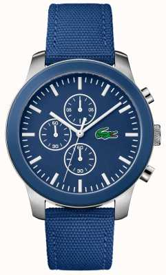 Lacoste Mens 12.12 chronographe cadran bleu bracelet en nylon bleu 2010945