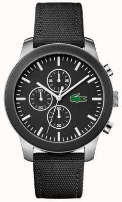 Lacoste Mens 12.12 chronographe cadran noir bracelet en nylon noir 2010950