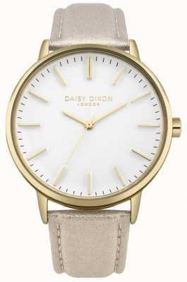 Daisy Dixon Mesdames harper blanc cadran or boîtier en cuir rose bracelet DD061GG