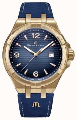 Maurice Lacroix Mens aikon édition limitée bronze bracelet en veau bleu AI1028-BRZ01-420-1