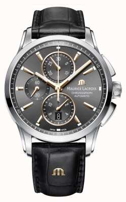 Maurice Lacroix Pontos homme marron cuir bracelet brun cadran PT6388-SS001-331-1