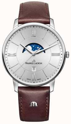 Maurice Lacroix Eliros moonphase bracelet en cuir marron cadran argenté EL1108-SS001-110-1