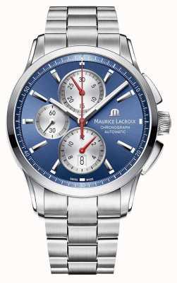 Maurice Lacroix Pontos hommes chronographe en acier inoxydable cadran bleu PT6388-SS002-430-1