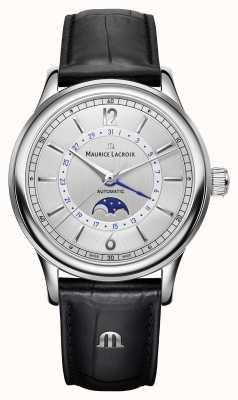 Maurice Lacroix Les classiques mens moonphase bracelet en cuir noir LC6168-SS001-120-1