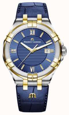 Maurice Lacroix Bracelet en cuir aikon bleu et or deux tons pour homme AI1008-PVY11-432-1