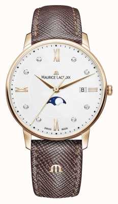 Maurice Lacroix Eliros moonphase bracelet en cuir marron plaqué or rose EL1096-PVP01-150-1