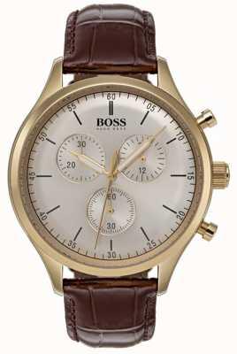 Boss Montre compagnon chronographe pour homme, bracelet en cuir marron 1513545
