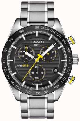 Tissot Mens prs 516 chronographe cadran noir en acier inoxydable bracelet T1004171105100