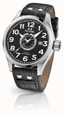 TW Steel Volante 45mm bracelet en cuir noir cadran noir VS51